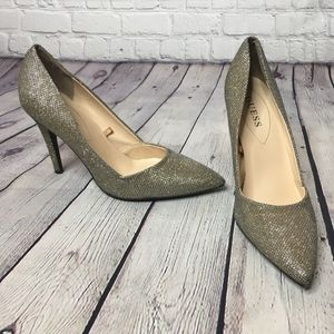 Guess Gold Metallic Mesh Pointed Toe Pump